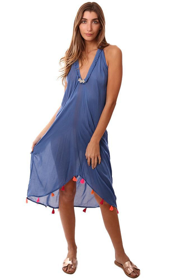 VINTAGE HAVANA DRESSES HALTER NECK OPEN BACK TASSEL TRIM BLUE BEACH COVERUP DRESS