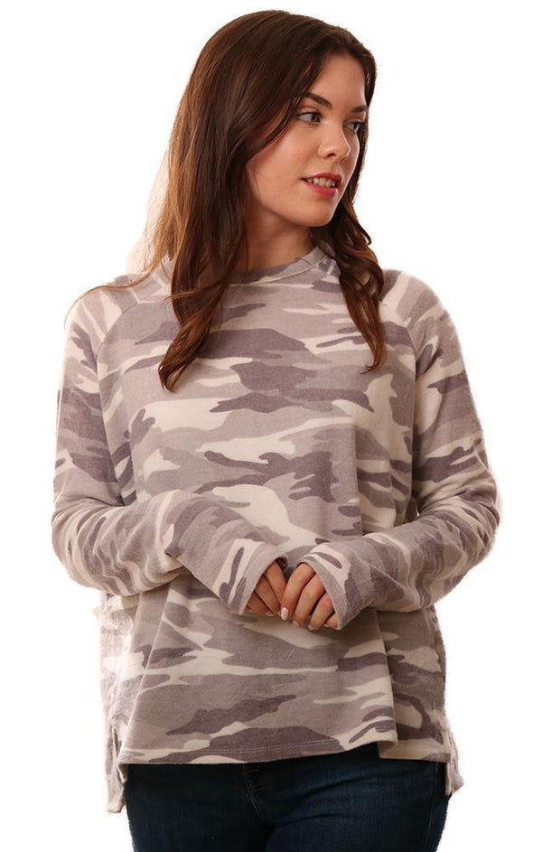 SIX FIFTY TOPS CREW NECK LONG SLEEVE HI LO WHITE CAMO PRINT RAGLAN PULLOVER