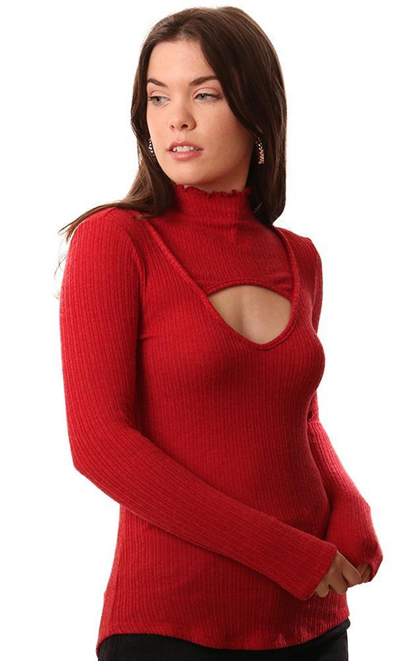 RED HAUTE TOPS LONG SLEEVE MOCK NECK CUTOUT FRONT BOLD RED RIBBED TOP