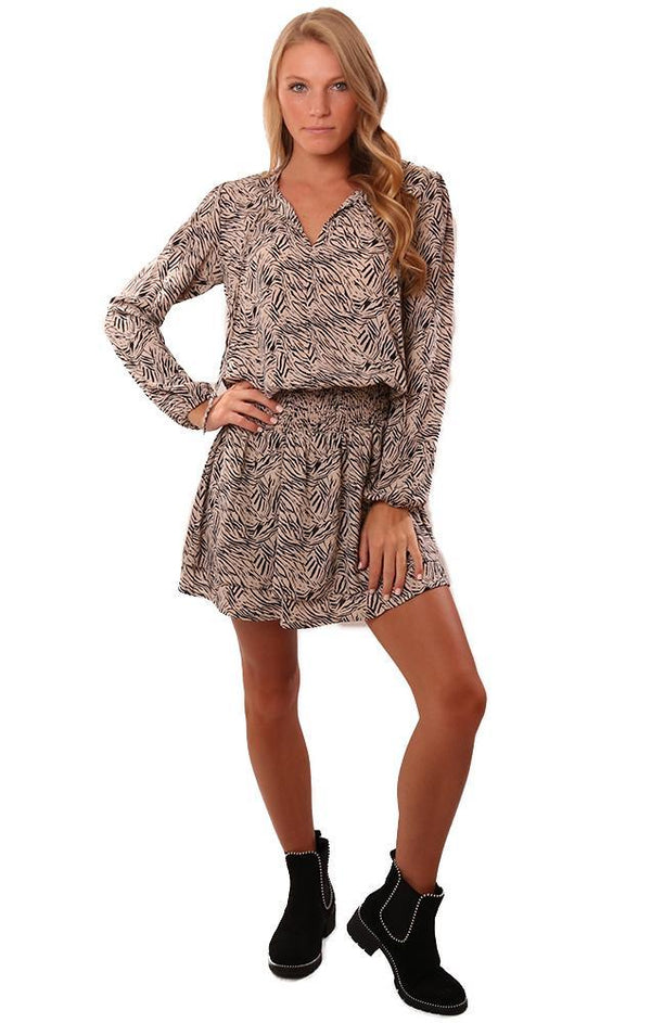 VERONICA M DRESSES TIE NECK SMOCKED WAIST PRINTED MINI DRESS