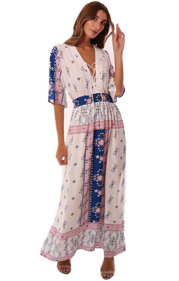 Q&A DRESSES LACE UP V NECK PRINTED FLOWY MAXI DRESS