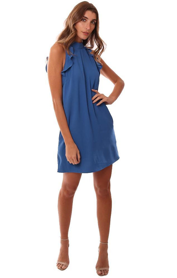 BB DAKOTA DRESSES SLEEVELESS HIGH RUFFLE NECK BLUE MINI PARTY DRESS