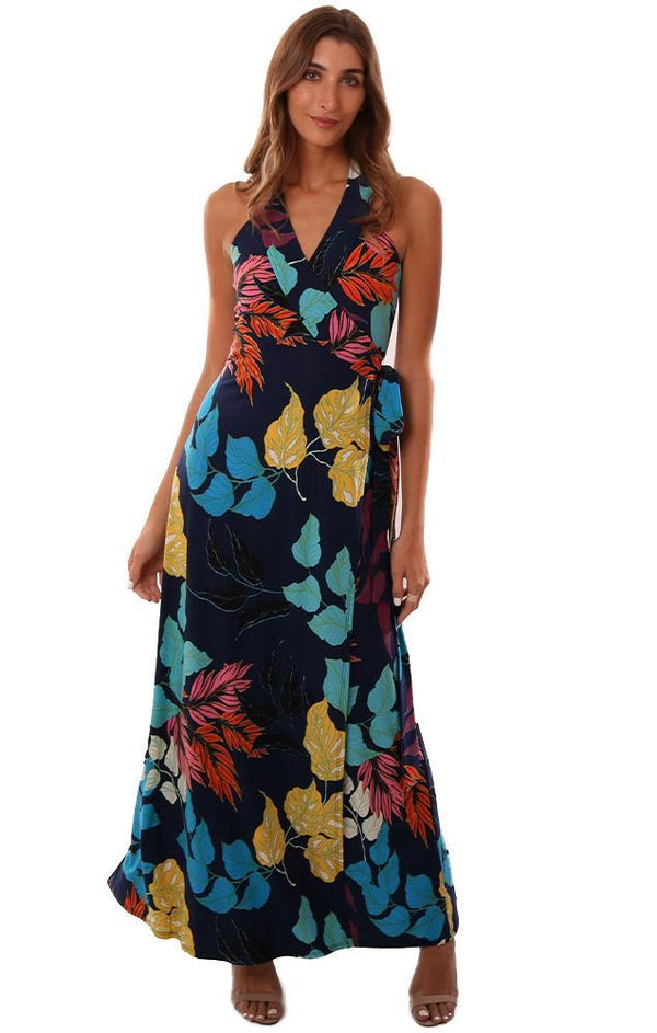 VERONICA M DRESSES V NECK SLEEVELESS WRAP TIE WAIST COLORFUL FLORAL PRINTED MAXI DRESS