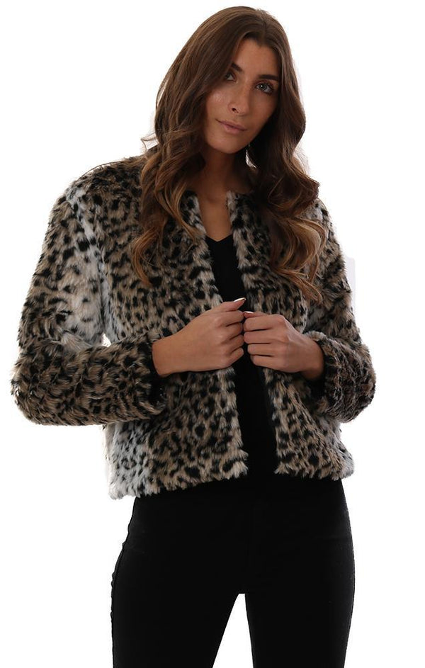 BB DAKOTA JACKETS FAUX FUR ANIMAL PRINT EDGY CHIC SHORT COAT