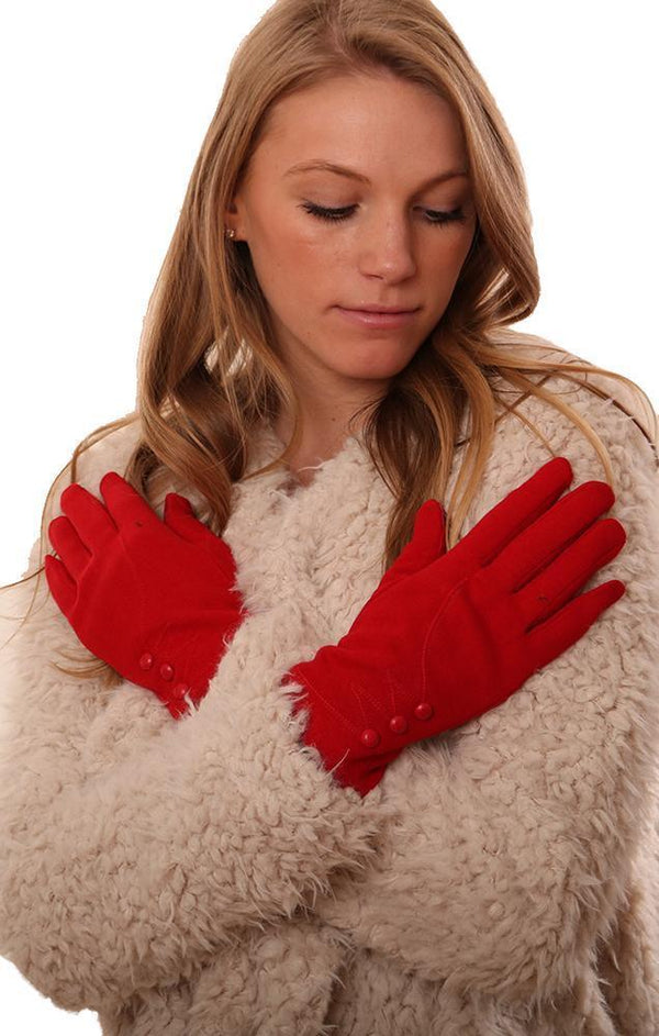 GLOVES SMART TIP 3 BUTTON WARM RED WINTER FINGER GLOVE