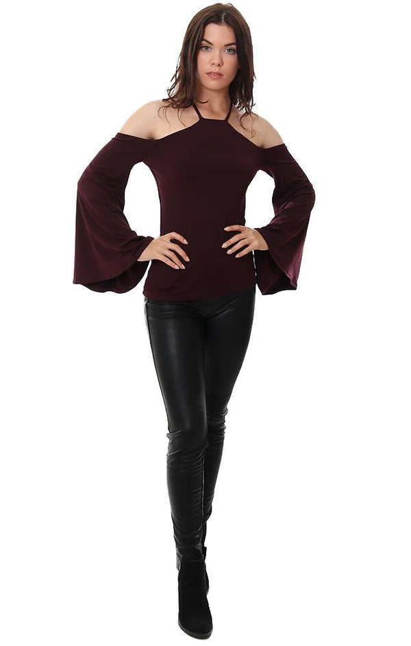 SUSANA MONACO TOPS HALTER NECK OFF THE SHOULDER WIDE BELL SLEEVE FITTED BURGUNDY TOP