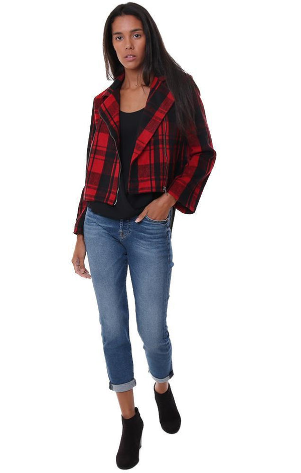 JACK BY BB DAKOTA JACKETS RED BLACK PLAID ZIPPER FRONT FLARE SLEEVE FALL COAT