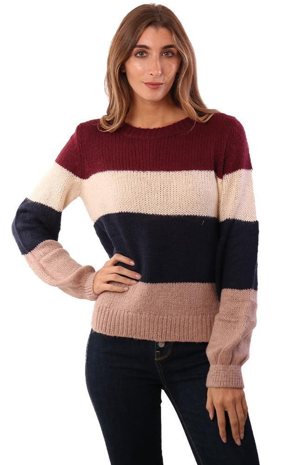 HEM AND THREAD SWEATERS LONG SLEEVE IVORY NAVY BURGUNDY COLOR BLOCK STRIPED KNIT