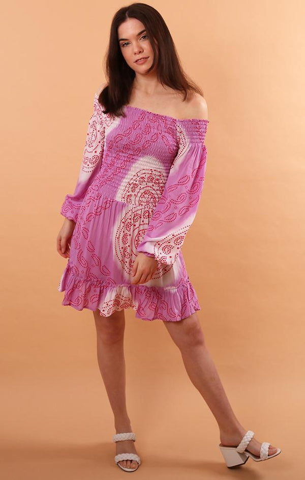 STEVIE DRESS MINI LONG SLEEVE RESORT WEAR