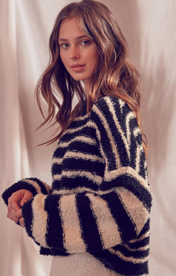 LUCY SWEATER STORIA STRIPED BALLOON SLEEVE KNIT