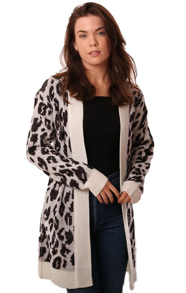 BB DAKOTA CARDIGANS OPEN FRONT ANIMAL PRINT IVORY BLACK KNIT CARDI