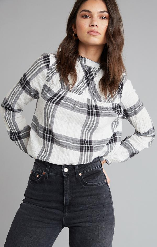 SMOCKED BISHOP SLEEVE TOP BELLA DAHL QUILTED FLANNEL BLACK AND WHITE BLOUSES