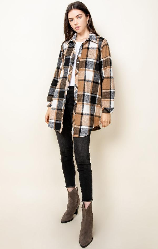 IN THE VINEYARD JACKET THML PLAID FALL SHIRT JACKET