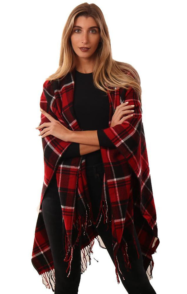 SHAWLS FRINGE TRIM BLACK RED PLAID KNIT RUANA WRAP