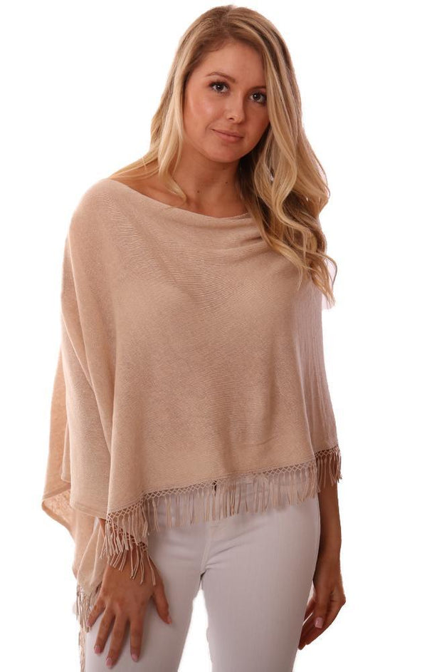 IN CASHMERE PONCHOS LINEN FRINGE TRIM TAN SHAWL TOPPER