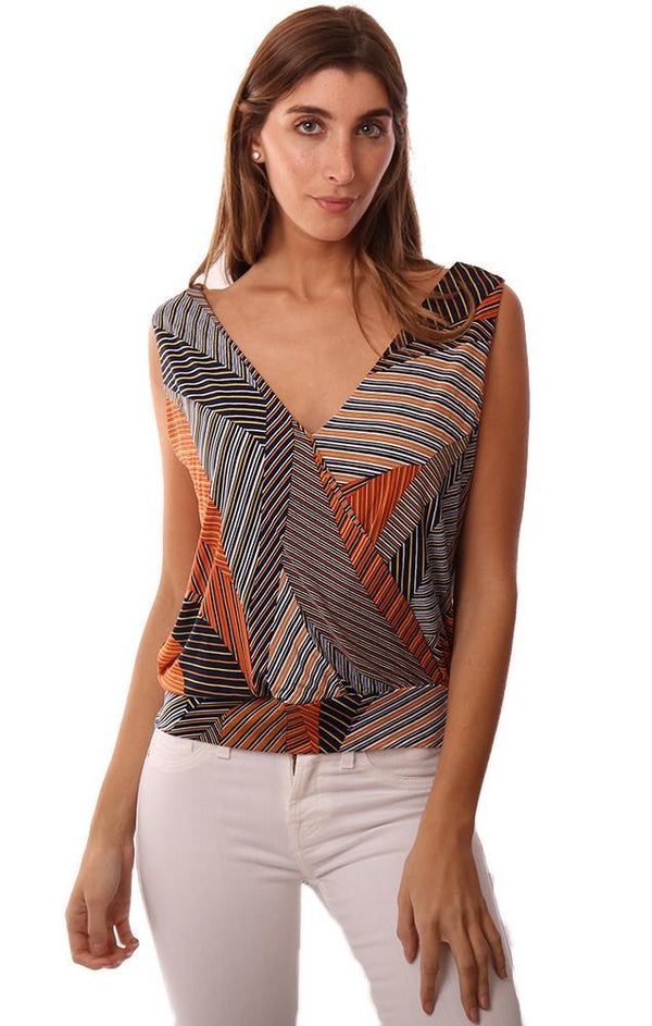 VERONICA M TOPS SLEEVELESS V NECK CROSS FRONT BANDED PRINTED TANK