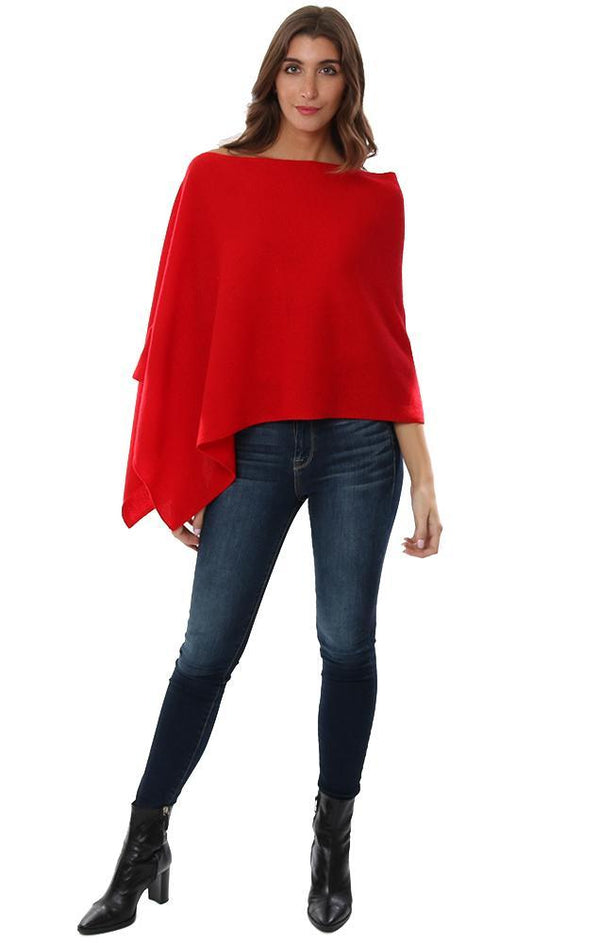 CASHMERE TOPPERS SOFT RED LAYERING KNIT PONCHO TOPPER