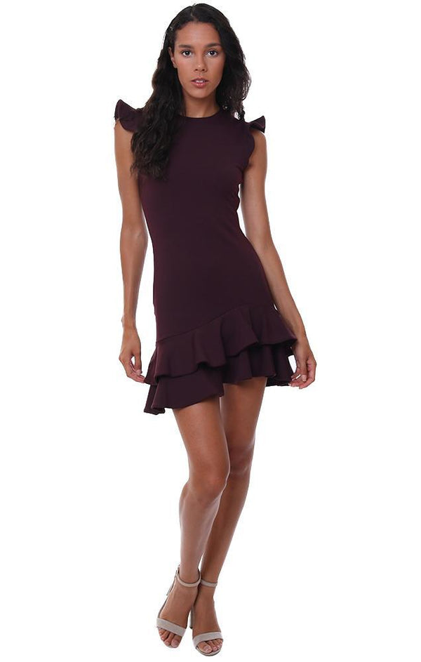 SUSANA MONACO DRESSES SLEEVELESS RUFFLE HEM BURGUNDY FITTED MINI DRESS