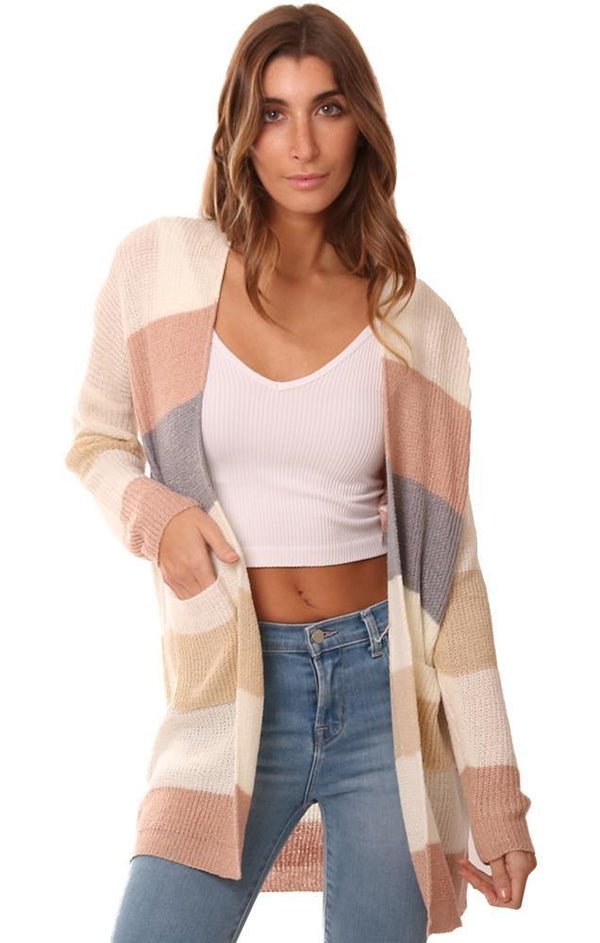 CARDIGANS OPEN FRONT COLOR BLOCK STRIPED KNIT CARDI SWEATER