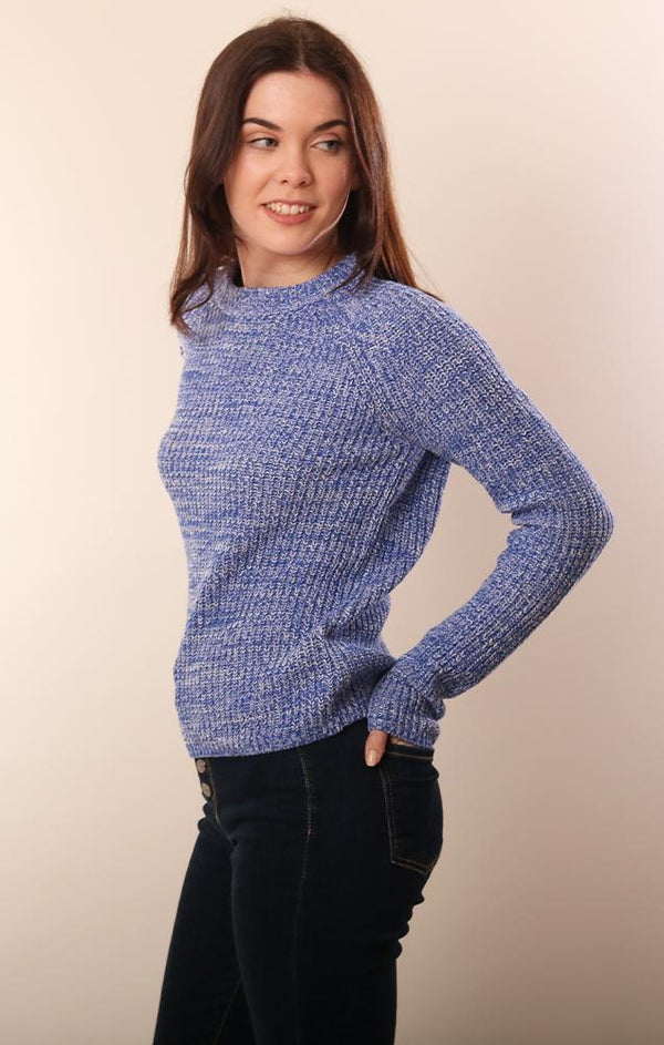 525 SWEATERS CREW NECK COMFY RAGLAN BLUE PULLOVER SWEATER