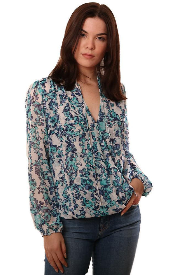VERONICA M TOPS LONG SLEEVE CROSS FRONT BLUE WHITE FLORAL PRINTED BLOUSE
