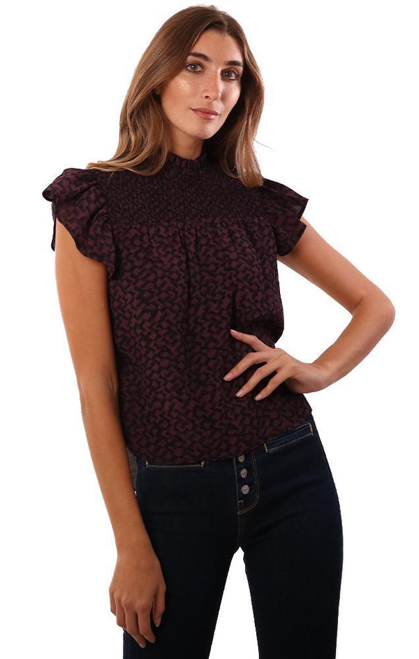 RED HAUTE TOPS SMOCKED FRONT RUFFLE SHORT SLEEVE PLUM PRINTED BLOUSE