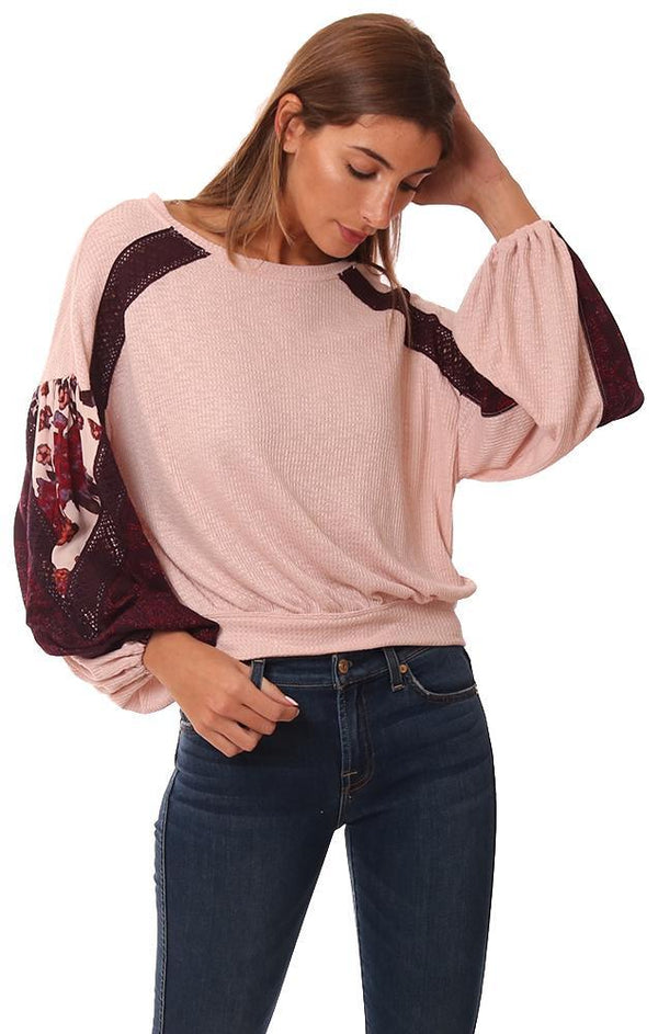 FREE PEOPLE TOPS BLOUSON SLEEVES TEXTURED EMBROIDERED SOFT PINK PULLOVER TOP