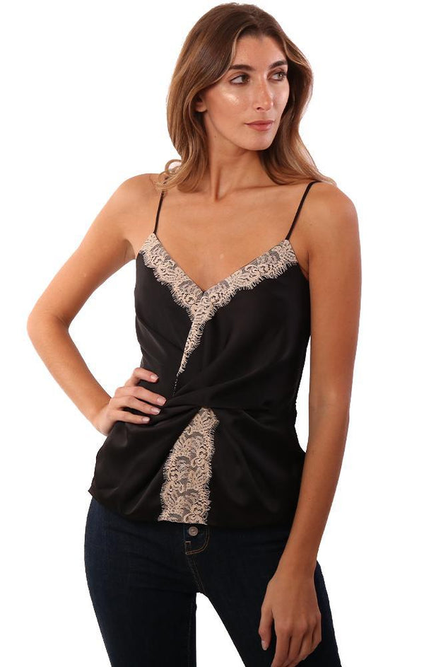 BAILEY 44 TOPS V NECK LACE TRIM TWIST FRONT SILKY BLACK CAMI
