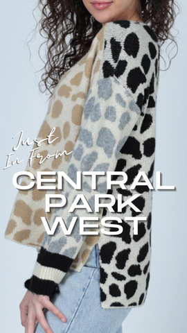 CROCKER COLOR BLOCK TOP CENTRAL PARK WEST LEOPARD  PRINT SWEATER