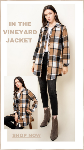 IN THE VINEYARD JACKET THML PLAID FLANNEL BUTTON UP SHIRT JACKET