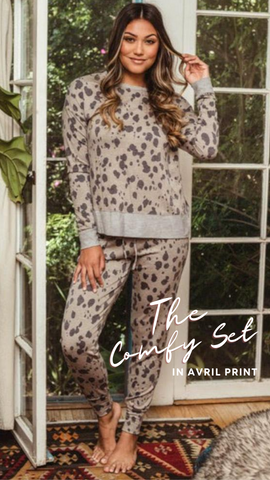 COZY SWEATSHIRT VERONICA M AVRIL PRINT CHEETAH LOUNGEWEAR