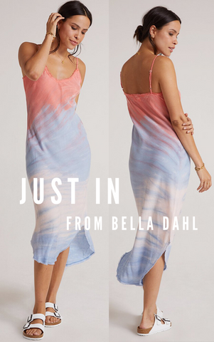 FRAYED CAMI SLIP DRESS BELLA DAHL TIE DYE SUMMER BEACH DRESS
