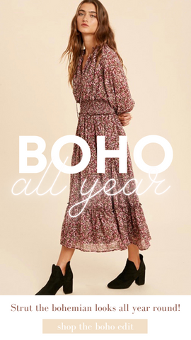 MAVE MIDI DRESS IN LOOM FLORAL BOHO PINK FALL DRESSES