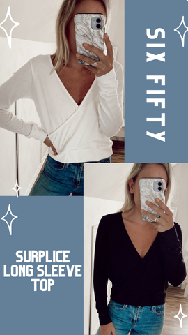 SURPLICE LONG SLEEVE TOP SIX FIFTY FALL SOFT COMFY SHIRTS
