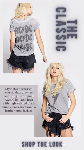 AC DC BOLT TEE RECYCLED KARMA VINTAGE ROCK AND ROLL TOPS