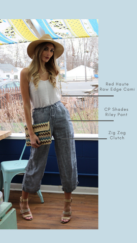 RILEY PANT CP SHADES CROP WIDE LEG LINEN PANTS