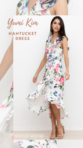 NANTUCKET DRESS YUMI KIM FLORAL PRINTS RUFFLES WRAP STYLE PARTY OUTFIR