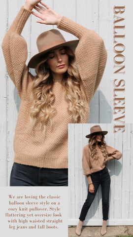 PUFF SLEEVE SWEATER ELAN LATTE COLORED SOFT AND COZY BALLOON SLEEVE FALL KNIT