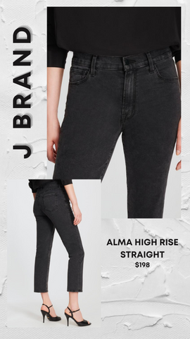 ALMA HIGH RISE STRAIGHT STRETCHY BLACK FALL CROP DENIM