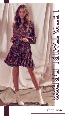 LET'S TWIRL DRESS STORIA FALL FLORAL PARTY DRESSES