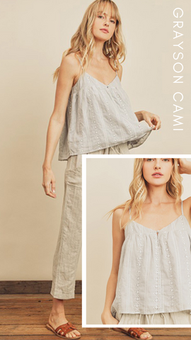 GRAYSON CAMI DRESS FORUM EMBROIDERED EYELET GREY CAMI TOPS
