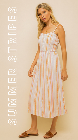 BLAKE MIDI DRESS MINT EXCLUSIVES STRIPED FLOWY SUMMER DRESS