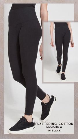 FLATTERING COTTON LEGGING LYSSE' BLACK STRETCH PANTS
