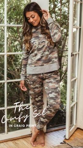 COZY SWEATSHIRT VERONICA M CAMO PRINT MATCHING SETS