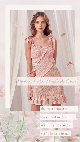 SPRING FEELS SMOCKED DRESS STORIA DITSY FLORAL PARTY DRESSES