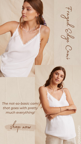 FRAYED EDGE CAMI BELLA DAHL WHITE TANK TOP SUMMER SHIRT