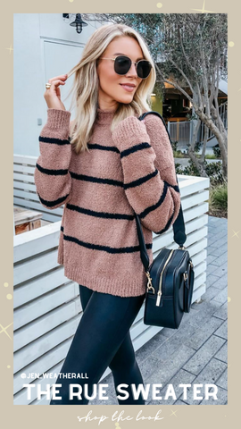 RUE SWEATER THREAD AND SUPPLY STRIPED CREW NECK FALL KNIT