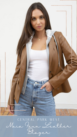 MAIA FAUX LEATHER BLAZER CENTRAL PARK WEST TAN SPRING JACKETS