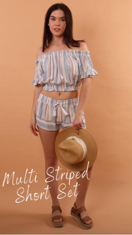 BELL SLEEVE TOP VINTAGE HAVANA OFF THE SHOULDER STRIPE BLOUSE