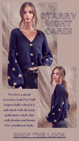 STARRY NIGHT CARDI SAYLOR NAVY STAR FALL SWEATER